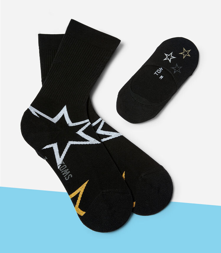 Ultimate No Show Socks with stars shown.