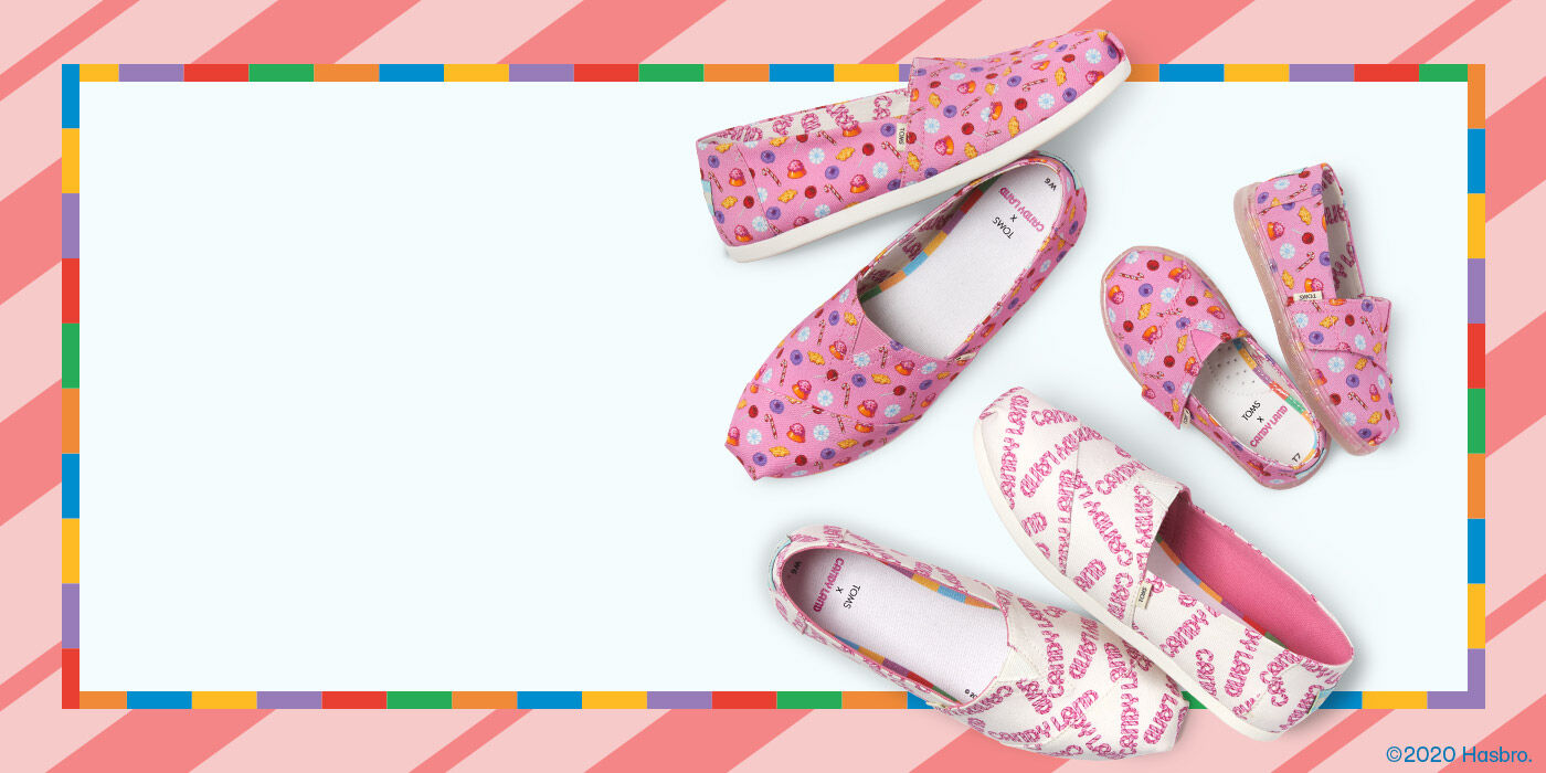 TOMS X Candy Land Confections Print Pink CloudBound Women's Alpargata. TOMS X Candy Land Logo Print White CloudBound Women's Alpargata, and TOMS X Candy Land Confections Print Pink Tiny Alpargata