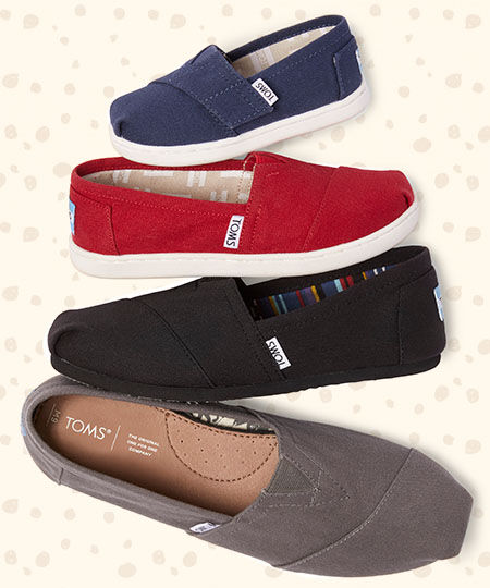 TOMS Blue Tiny Classic Alpargatas, Red Youth Alpargatas, Women's Black on Black Alpargatas. and Grey Men's Alpargatas
