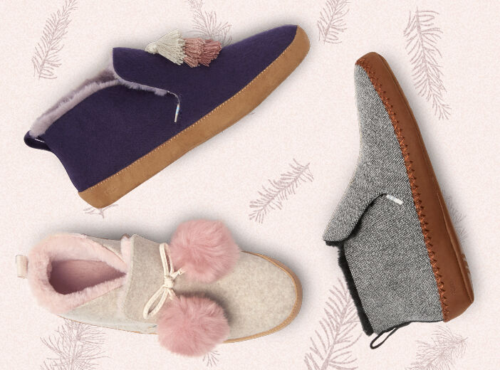 Shoes featured: Women's Nahla Slippers in Pink and Navy Suede and Charcoal Knit