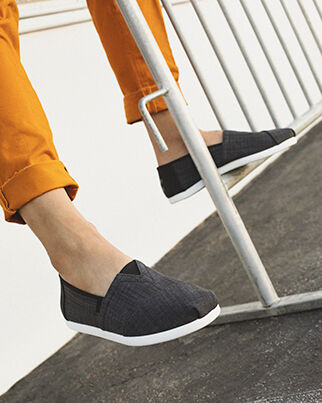 Shoes Featured: Grey Knit Alpargatas on model