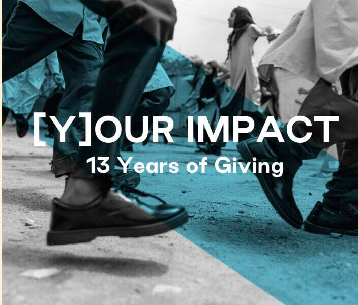 A close-up of kids running in TOMS shoes. Text: Your Impact. 13 Years of Giving.