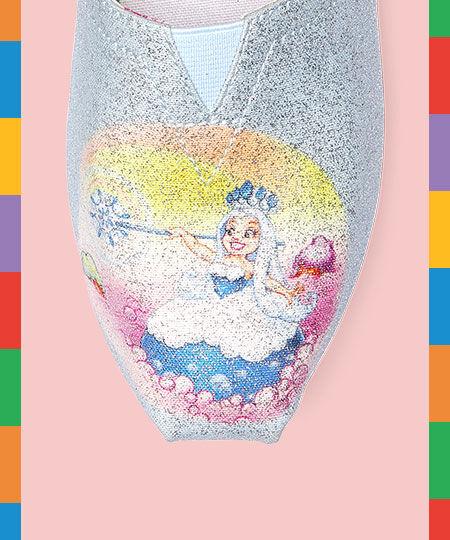 TOMS X Candy Land Queen Frostine Baby Blue CloudBound Women's Alpargata close-up of Queen Frostine Design