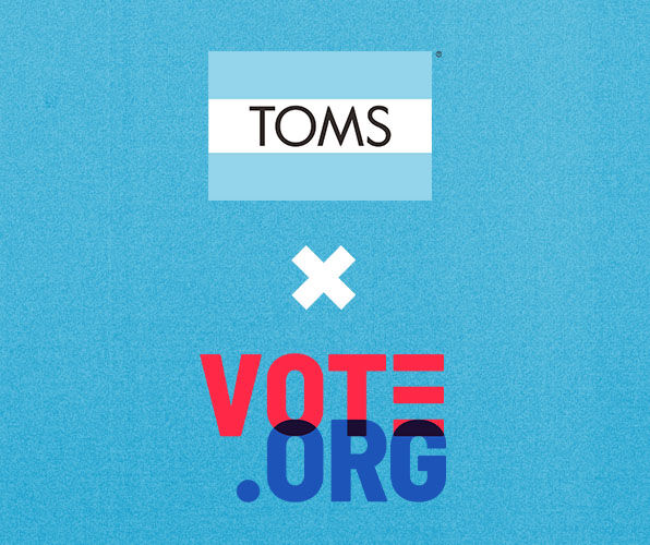TOMS logo and Vote.org logo.