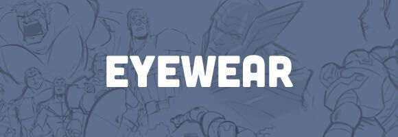 Banner with Marvel sketching introducing the Eyewear collection.