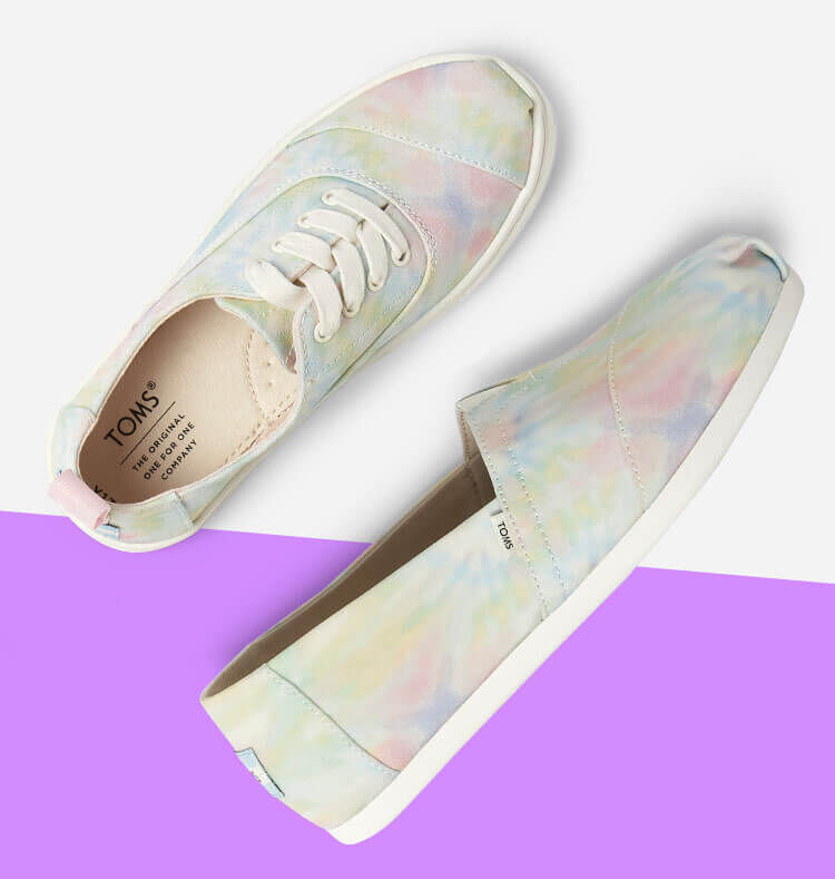 Women's Alpargata and Youth Cordones Sneaker Tie dye shown.