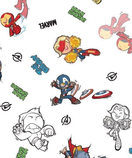 Marvel Comic cartoon print characters featuring The Avengers
