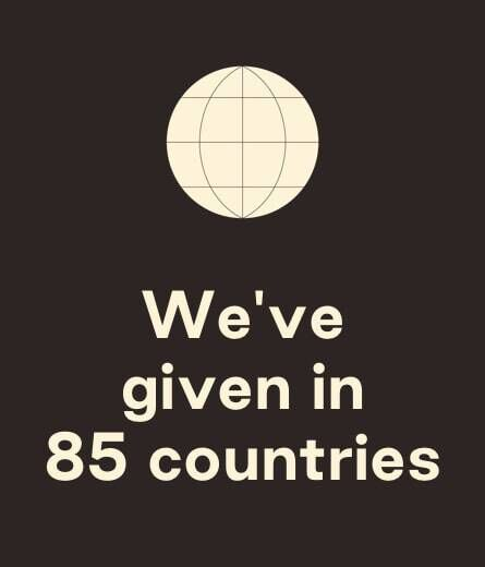Globe illustration. We've given in 85 countries.