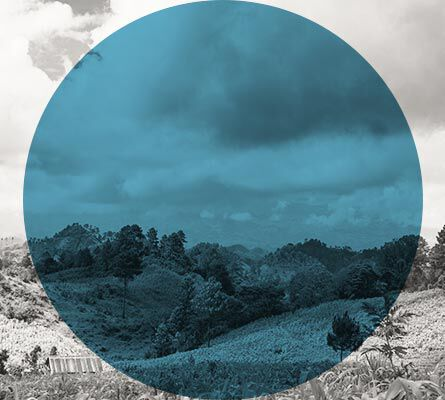An image of a black and white landscape with a blue transparent circle layered over it.