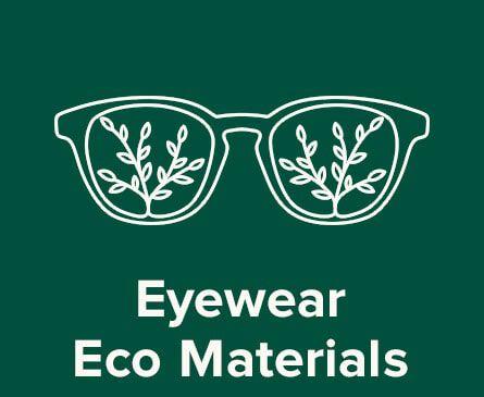 Eyewear illustration. Text: Eyewear Eco Materials.
