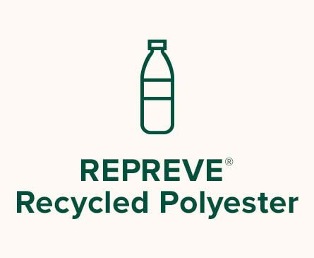Water bottle illustration. Text: REPREVE® Recycled Polyester.