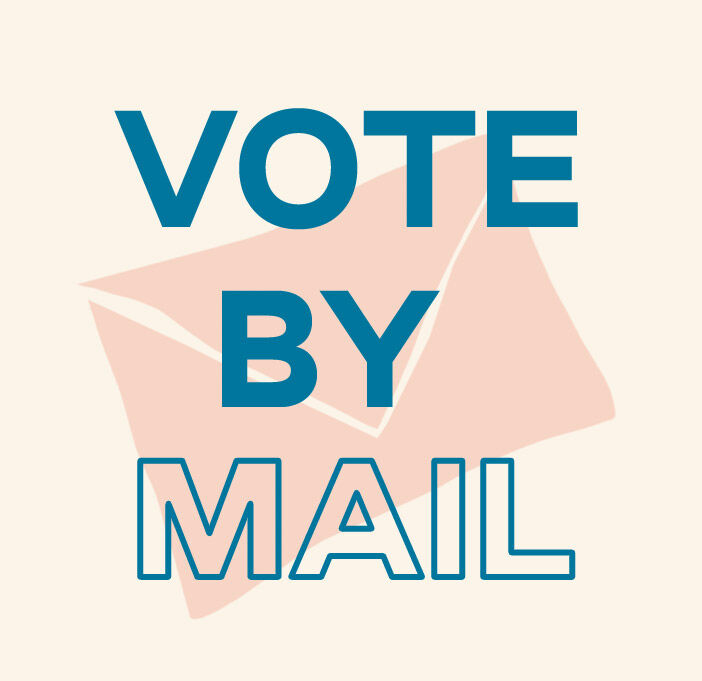 Text: Vote by mail. Background image of letter envelope.