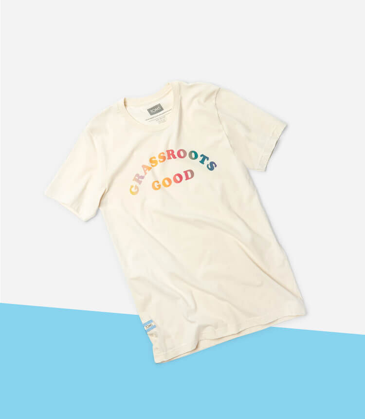 TOMS Gear Grassroots Good Tee in natural shown.