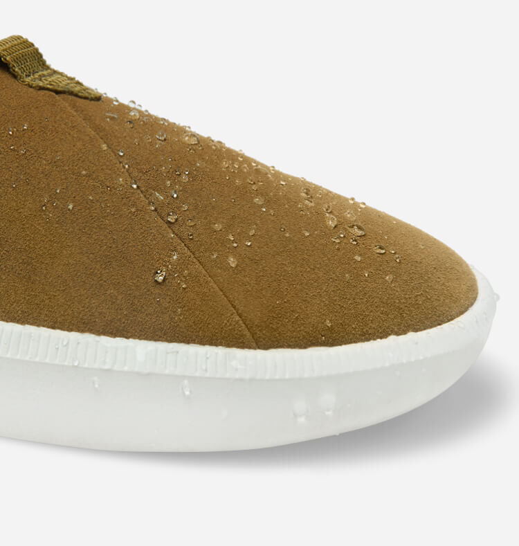 Close up size view of the toe and upper of the Men's Alpargata Rover Water Resistant in dirty olive shown.