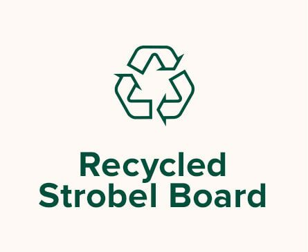 Recycle illustration. Text: Recycled Strobel Board.
