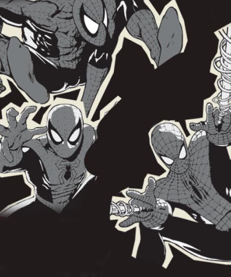 Comic book sketch of Spiderman for the Marvel x TOMS collection