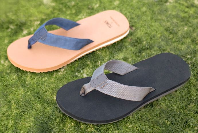 TOMS X Outerknown sandles in two different colors