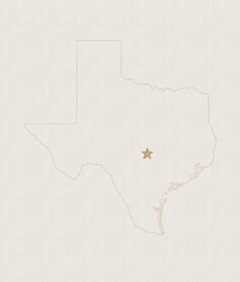 A map of Texas showing the location of TOMS Austin retail store