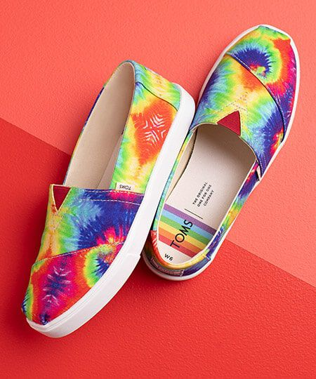 TOMS Rainbow Tie-Dye Slip-on shoes