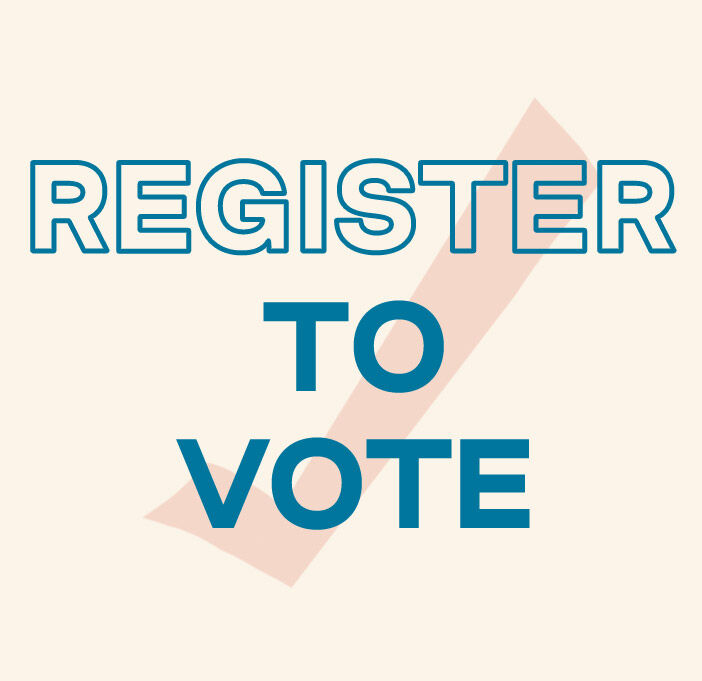 Text: Register to vote. Background image of check mark.