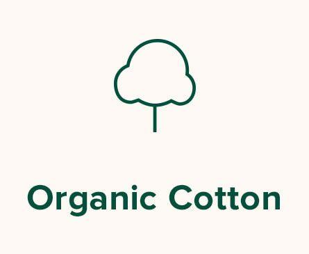 Cotton illustration. Text: Organic Cotton.