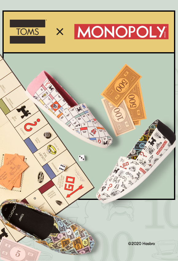 TOMS x Monopoly game board background with the TOMS show collection on top