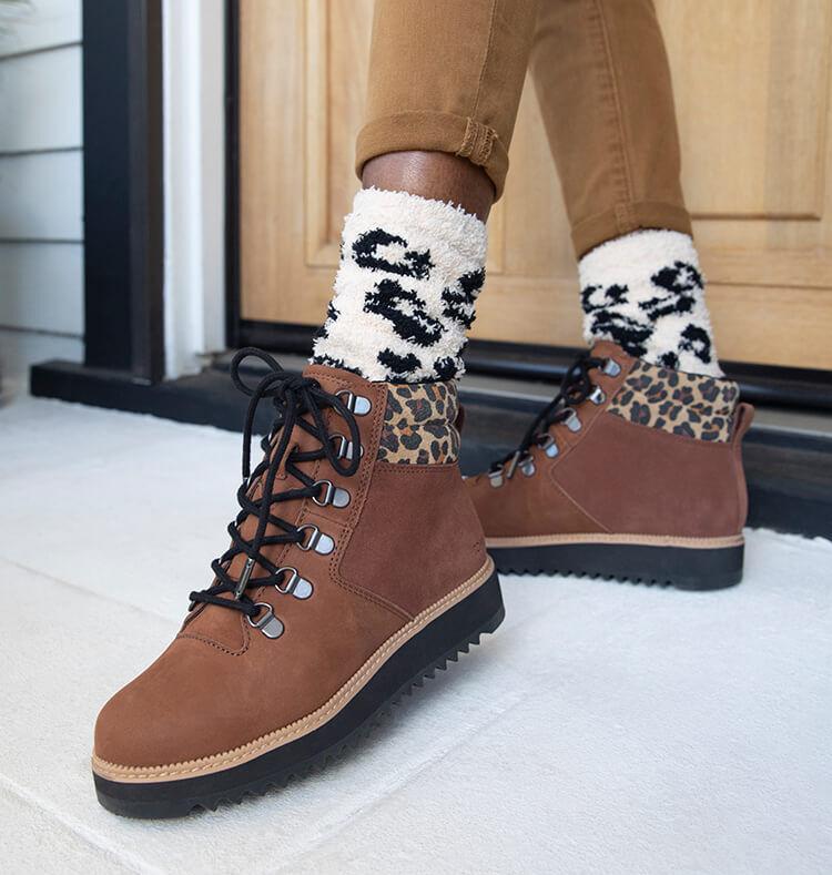 Cozy Cushioned Crew Socks in leopard shown.