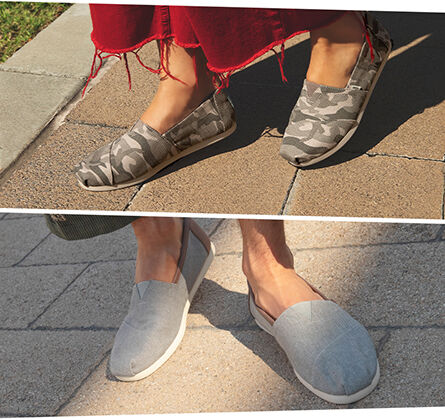 Styles Featured: WOmen's Camo CloudBound Alpargatas & Men's Grey Chambray CloudBound Alpargatas
