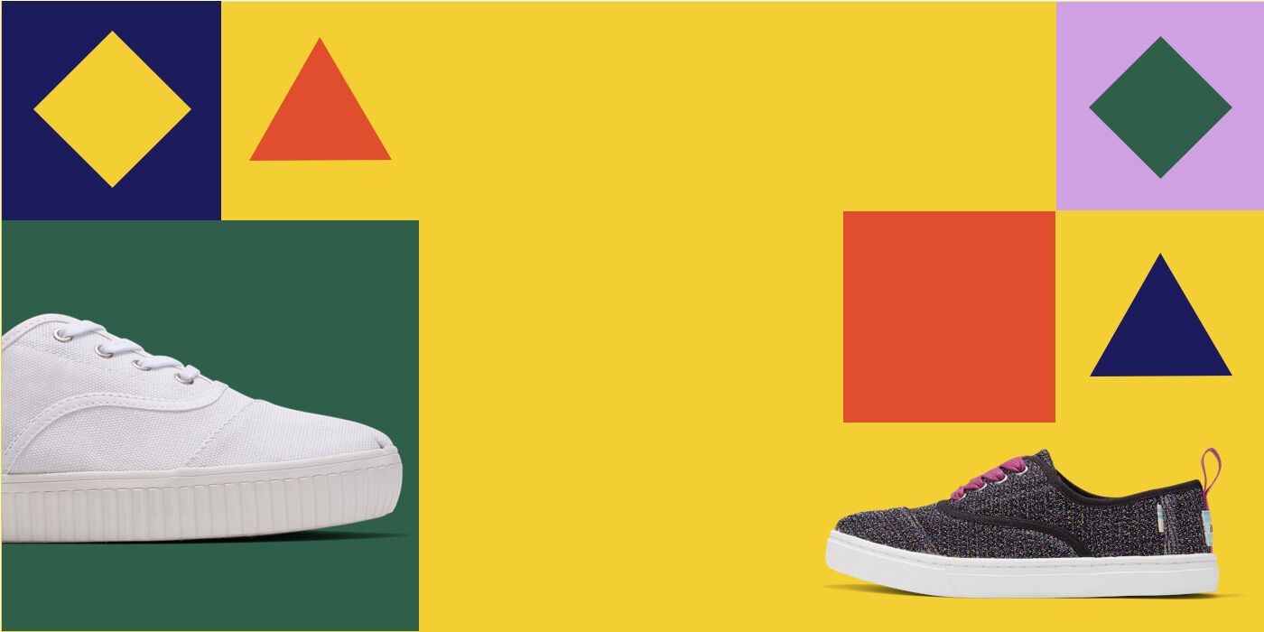 Colorful graphics of geometric shapes. Side shot of sneakers.