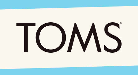 TOMS classic flag logo with an updated angled feel.