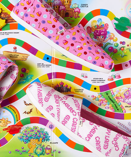 Women's Pink and White TOMS X Candy Land Confections Print Alpargatas on the Candy Land Board Game Background