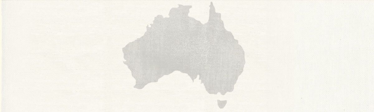 Neutral-colored map outline of Australia.