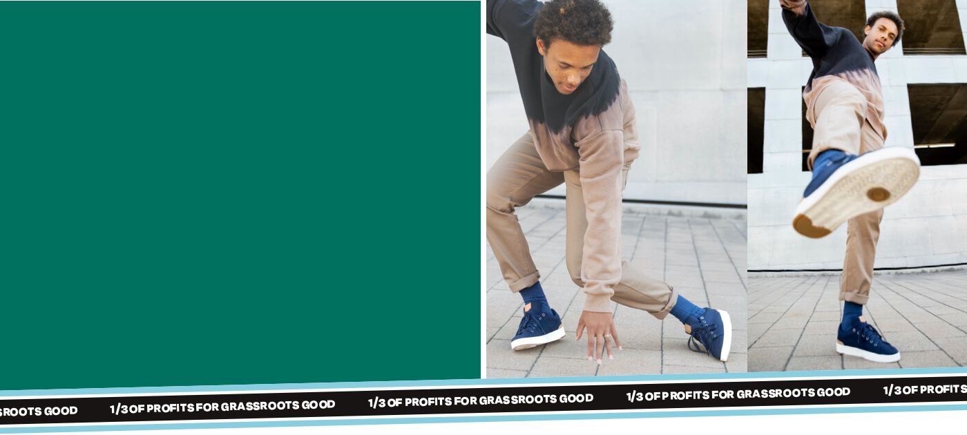 green background on left side of screen and right side of screen is model wearing and dancing in TOMS TRVL Lite Navy Sneakers