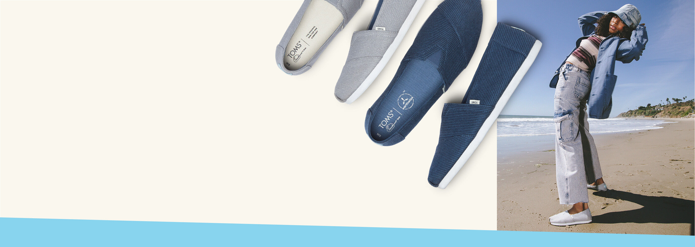 Alpargata REPREVE Our Ocean in slate blue and mid grey shown.