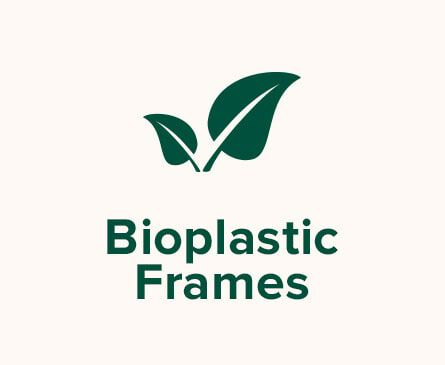 Leaves illustration. Text: Bioplastic Frames.