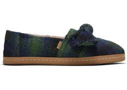 Green Plaid Leather Wrap Alpargata