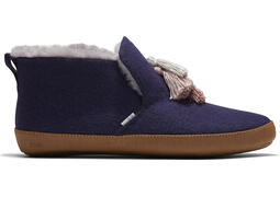 Navy Faux Fur Nahla Slipper