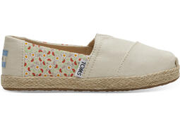 Beige Floral Print and Rope Sole Classics für Kinder
