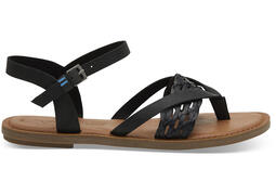 Black Leather with Synthetic Braid Strap Women's Lexie Sandals