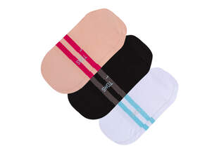 Ultimate No Show Socks Striped 3 Pack