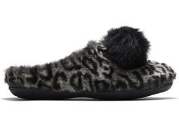 Grey Leopard Faux Fur Ivy Slipper
