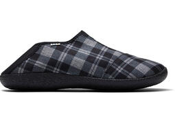 Black Twill Check Convertible Men's Rodeo Slippers