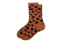 Cozy Crew Socks Tan Cheetah
