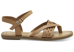 Honey Leather with Synthetic Braid Strap Women's Lexie Sandals