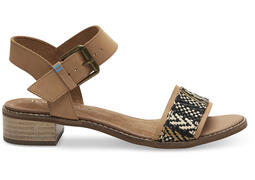 Honey Leather Geometric Woven Women's Camilia Sandals