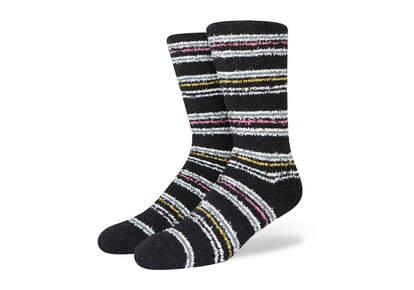 Cozy Cushioned Crew Socks Black Stripes