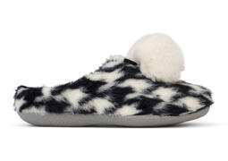 Houndstooth Faux Fur Ivy Slipper