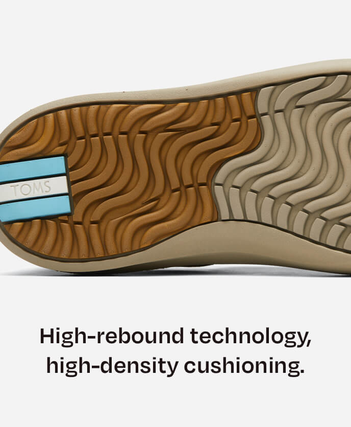 High-rebound technology, high-density cushioning. Bottom sole of Alpargata Rover in dirty olive shown.