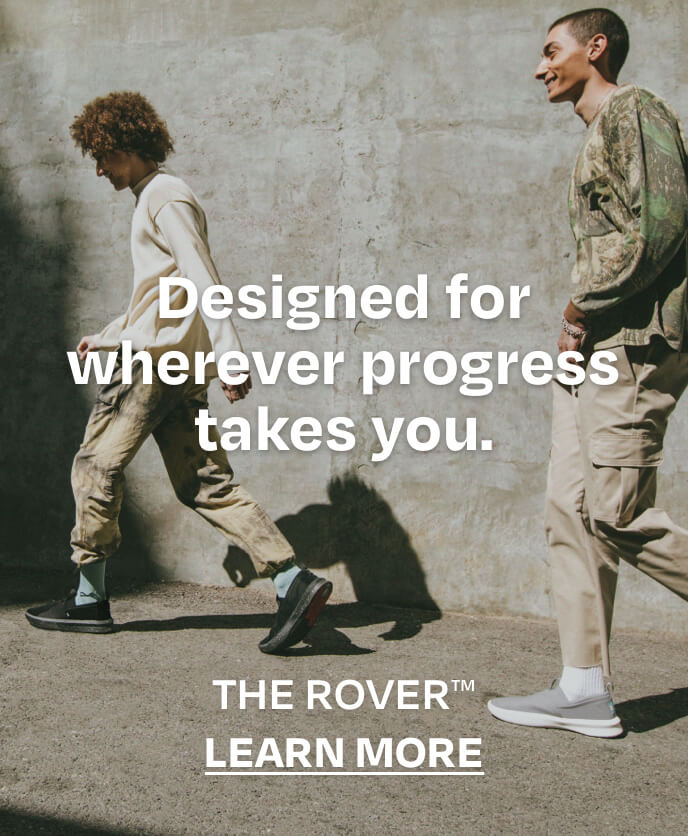 Designed for wherever progress takes you. THE ROVER. LEARN MORE.  Models wearing Alpargata Rover in drizzle grey and black on black styles.