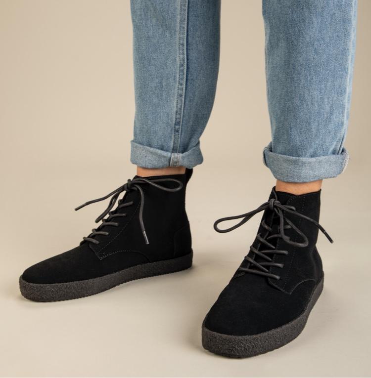 Feet view model shot showing Teton Boot in Black/Black Suede